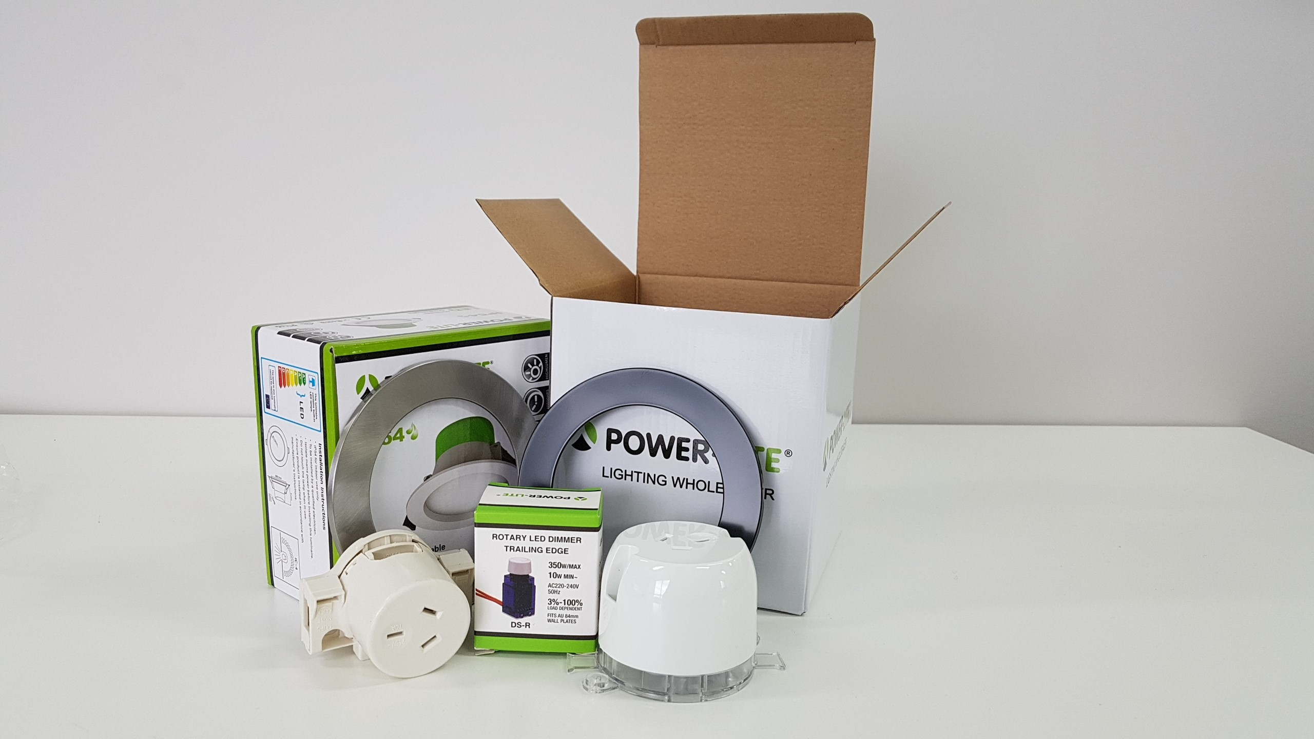 SAMPLE PACK - DOWNLIGHT - RINGS - PLUG BASES - DIMMER SWITCH